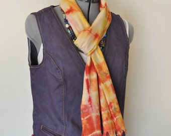 """Red Yellow Dyed Cotton SCARF - Scarlet Gold Tan Hand Dyed Tie Dye Hand Made Shibori Cotton Skinny Scarf  #83 - 8 x 74"""""""