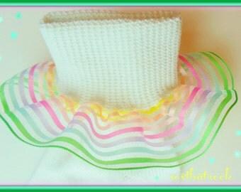 Spun Sugar Pastel Rainbow Stripe girls Ruffle Socks, hand crafted OOAK couture custom made boutique socks