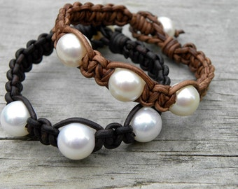 Leather and Pearls The Ultimate Beach Bracelet Braided Leather
