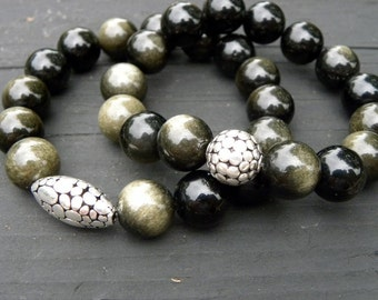 Golden Obsidian Sterling Silver Beaded Bracelet Stretch Elastic Stacking Black Gold
