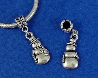 Snowman European Dangle Bead Charm - Silver Frosty the Snowman Charm for European Bracelet