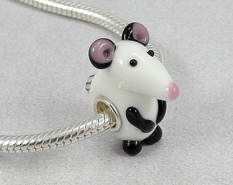 Mouse Large Hole Lampwork Glass Bead - 925 Sterling Silver European Bead Charm