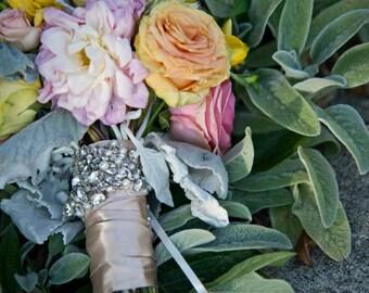 Bridal Bouquet Jewelry Rhinestone Brooch Beaded Embellishment Applique Wrap #3