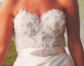 Mikaela Bridal Dress Gown Beaded Jeweled Crystal Belt Sash