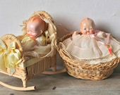 Antique Hertwig Style Composition Baby Dolls Wicker Bassinet Park Avenue Doll Outfitters Phila-Pa