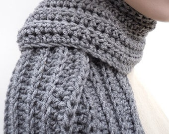 Lighter Charcoal Gray Scarf - Mens Gray Scarf - Womens Gray Scarf - Light Gray Scarf - Crocheted Scarf