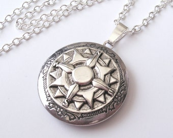 Silver Locket, Compass Locket, Explorer Locket, Steampunk Jewelry, Locket Necklace, Compass Necklace, Also in Bronze and Copper