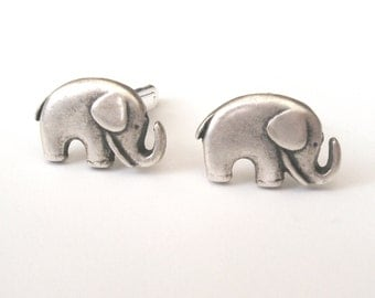 Elephant Cufflinks, Little Silver Elephants, Wedding Cufflinks, Silver Cufflinks, Also Now Available in Gold Plated