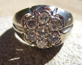 Vintage Diamond Cluster Ring in 14 Karat White Gold.