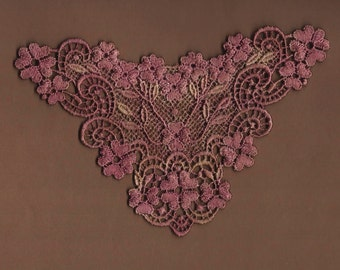 Hand Dyed Venise Lace Applique Graceful Floral   Aged Victorian Wine
