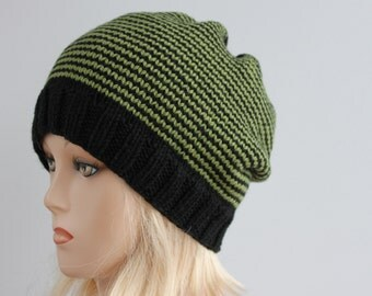 Black and khaki slouchy beanie, knitted oversized beanie, knitted slouchy beanie, striped beanie, beanie is ready to ship