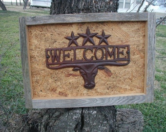 Western Metal Longhorn Framed Barn Wood  with Rusty Welcome Stars Rustic Decor