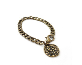 Bronze Charm Bracelet - Layering Chain Bracelet - Ancient Bhutan Coin Charm - Bohemian Bracelet