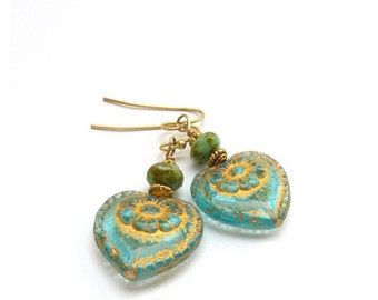 Aqua Blue Czech Glass Heart Earrings - Gold Inlay - Romantic Dangle Earrings - Pale Blue Jewelry