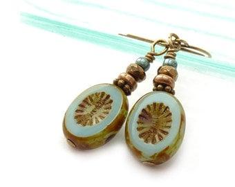 Aqua Dangle Earrings - Picasso Czech Glass Ovals - Fire-Polished Glass - Antique Inspired Dangles - Pale Blue Boho Earrings