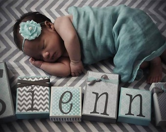 Custom and Personalized GIRL Name Wooden Blocks - Great Baby Shower Decoration or Gift