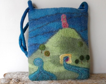 Felted Bag - The Isle of Avalon - hand embroidered and appliqued