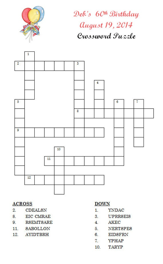 Personalized Birthday Party Game Crossword Puzzle by ...