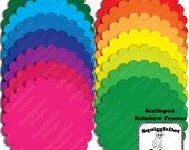 Frame Clip Art for Digital Scrapbooking Embellishments for Cards and Crafts Set of 14 - Scalloped Rainbow Frames - Instant Download