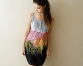 Upcycled Clothing, Bohemian Halter top,Shabby Chic Jumper Blouse