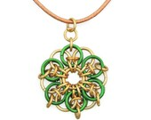 Pendant Green and Gold Chainmaille Leather Cord Necklace