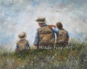 Father and Sons Talking 24X24 Original Oil Painting dad and two sons paintings, fatherhood, two boys two brothers wall art, Vickie Wade Art