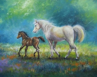 Mother Horse and Colt Original Oil Painting, mare, original horse paintings, white horse, western wall art, Vickie Wade art