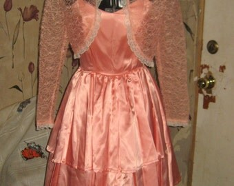 vintage peach satin party tier dress with lace cropped  bolero  jacket
