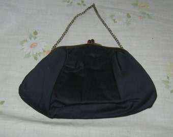 Vintage 40s 1940s metal frame satiny navy Evening Bag w/   Chain Strap