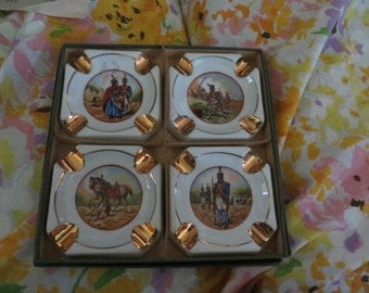 Antique Limoges France porcelain  hand painted  painted soldiers ash trays  set in box