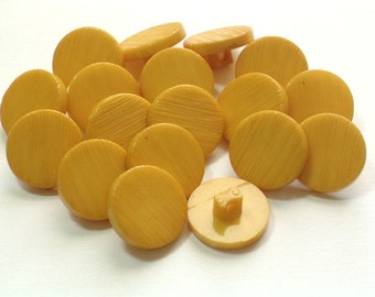 50 Buttons Mustard Yellow Vintage Plastic Buttons Old Stock  15mm Harvest Gold