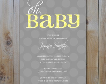Baby Shower Invitation / Yellow and Grey Oh Baby / PRINTABLE INVITATION
