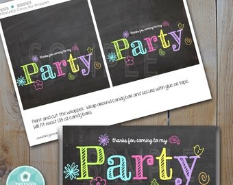 Candy Bar Wrapper/ Chalkboard Neon Colors / Instant Download / PRINTABLE / #5504