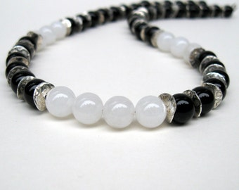 Black onyx necklace with white quartz and sterling silver accents, Black stone necklace