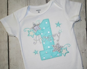 Twinkle Twinkle Little Star Birthday Shirt- Cake Smash Outfit-Aqua and Silver Stars Birthday-Silver Glitter shirt- Sparkle Birthday Shirt