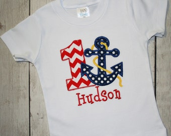 Red Chevron Anchor Nautical Birthday Applique Shirt- Red chevron and Navy polka dots- Under the Sea Birthday Shirt- Nautical Birthday Shirt