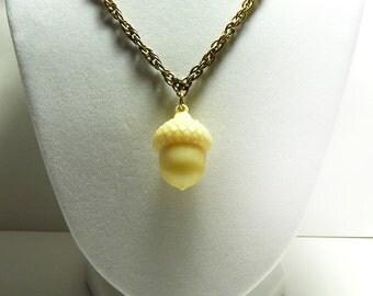 NECKLACE: Vintage, Acorn Necklace, White Plastic, Celluloid, Simple, Elegant