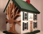 Personalized Birdhouse with Heart Carved Tree and Shutters