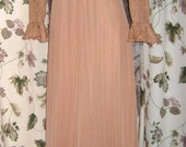 70s Long Halter Dress with Matching Ruffled Rose Print Jacket in Copper - Peach Color