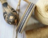 CHARCOAL GREY thin stitched fabric woven cotton blend ribbon