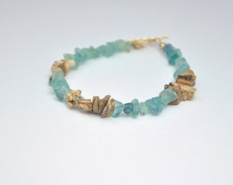 Blue Apatite Bracelet Blue Gemstone Bracelet Blue and Tan Sand Jasper Bracelet