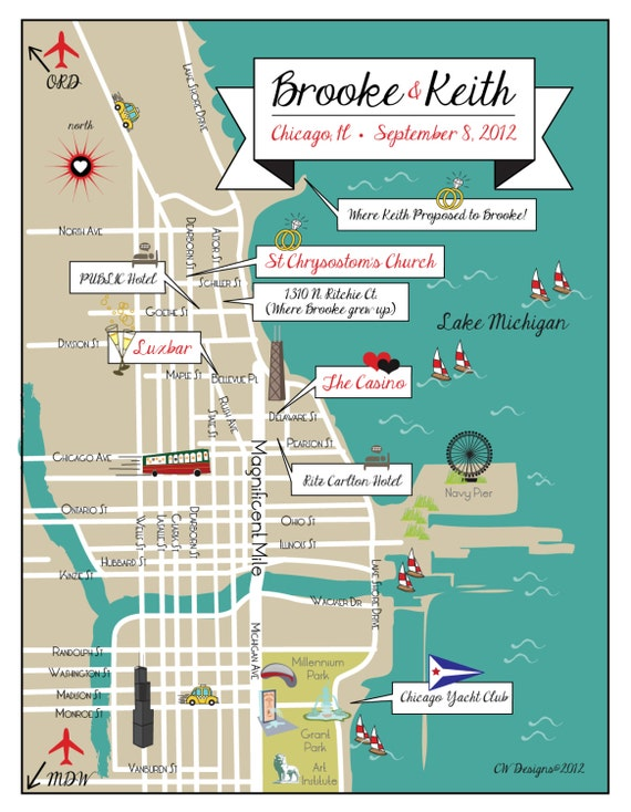 Custom Listing for Erin - Custom Wedding Map Infographic with Itinerary -- Chicago, IL (choose your location)