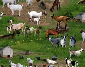 GOATS Fabric Scenic 3 yds Elizabeth's Studio quilt Farm Animals Americana novelty 3 full yards barnyard country life homestead 359 Green