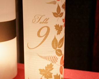 Falling in Love - Table number Luminaries for centerpieces, table numbers at wedding, events, balls