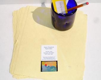 Eight sheets of lemon yellow handmade abaca kozo paper,8 x 10 inches