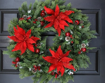 "Christmas Wreath, 26"" Poinsettia Delight  Christmas Battery Operated Wreath, Door Wreath,  Christmas Wreath"