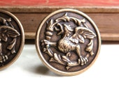 SALE Dragon Cuff Links - Antiqued Brass Cuff Links - Victorian - Regal Winged Dragon Medallion - Antique Gold - Soldered CLEARANCE