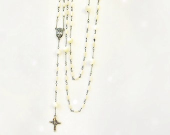Mother of Pearl Silver Rosary Tiny Ivory Glass Beads Delicate Wirework Chain Catholic Prayer Beads Cross Pendant Handmade Jewelry Canada