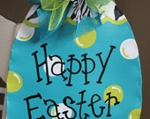 Turquoise and Zebra Easter Egg Door Decor