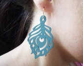 Wood Earrings - Boho Wood - Wood Feather - Matte Turquoise - Laser Cut Wood - Filigree Earrings - Summer Jewelry - Sterling Silver Earrwires